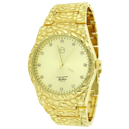 Mens Watch 14k Yellow Gold Finish Gold Nugget Bracelet Style Lab Created Cubic Zirconia with Gold Dial Diamond Cut Metal Band