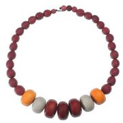 Faire Collection Tagua and Seed Manabi Necklace, Burgundy