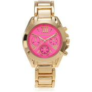 Women's Roman Numeral Link Fashion Watch, Hot Pink/Gold