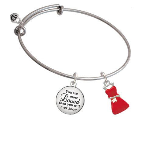 Red Dress You Are More Loved Bangle Bracelet