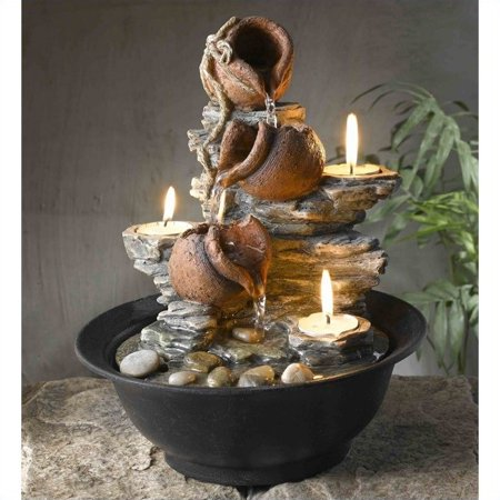 Jeco Tavolo Luci Mini Pot Tabletop Fountain with Candle