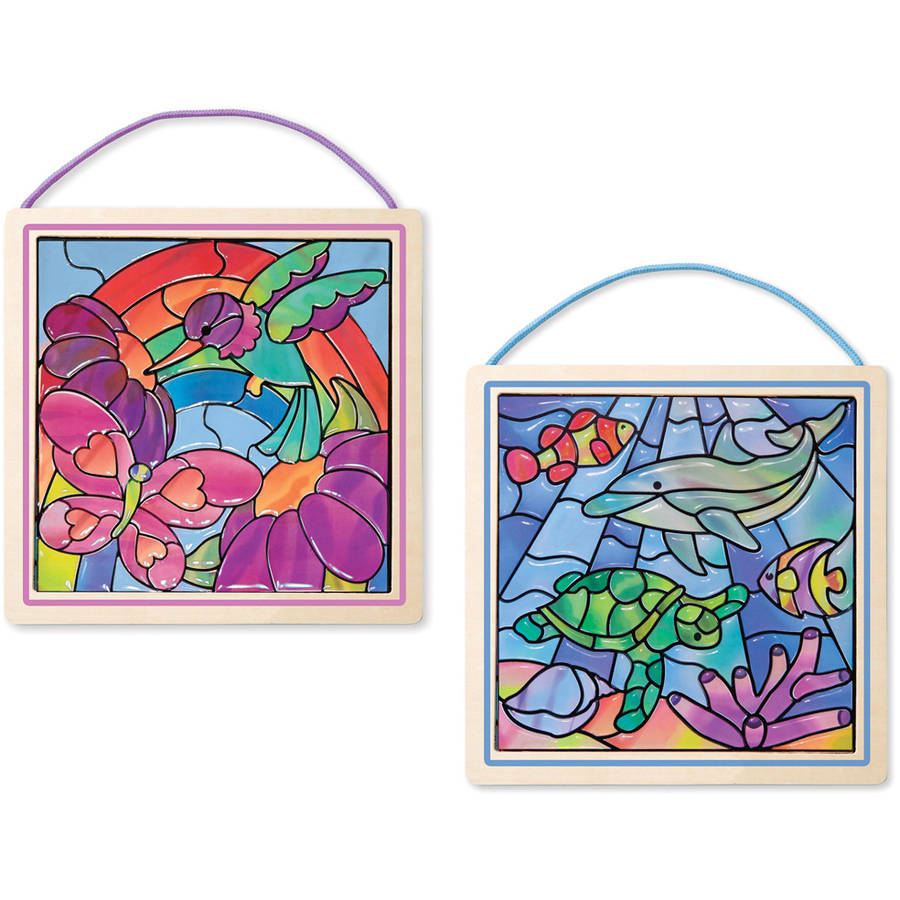 Melissa & Doug Peel and Press Stained Glass Activity Kits Set: Rainbow Garden and Undersea Fantasy... by Generic