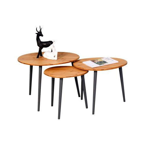 Bamboo Nesting Triangle End Table Set Of 3 Coffee Table Modern Minimalist Side Table For Living Room Walmart Com Walmart Com