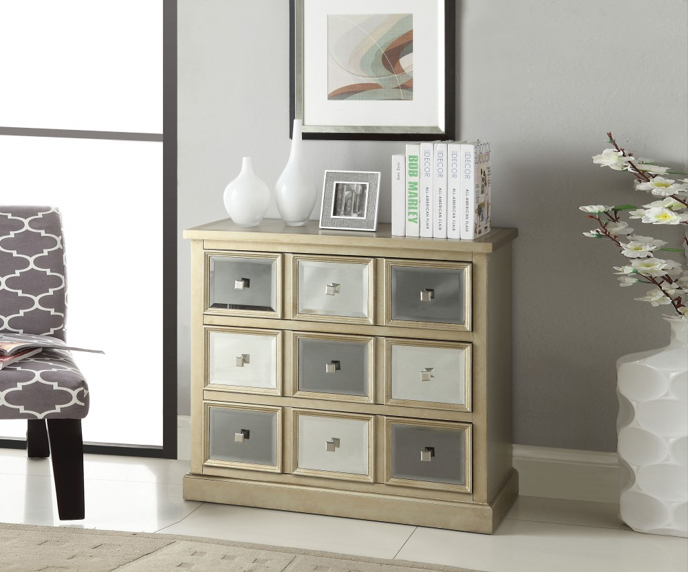 1PerfectChoice Seaira Hallway Console Sofa Table Chest Cabinet Drawers Mirror Silver Gray Wood by