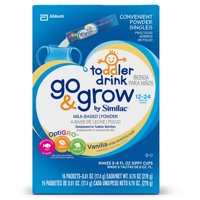 Go & Grow by Similac Milk-Based Toddler Drink, Vanilla, Powder, 0.61 oz (Pack of 16)