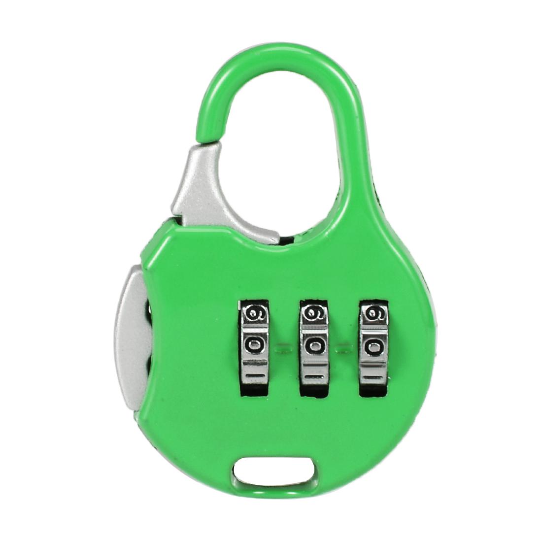 3 Digit Combination Padlock, 3mm Shackle, Zinc Alloy Lock, Green