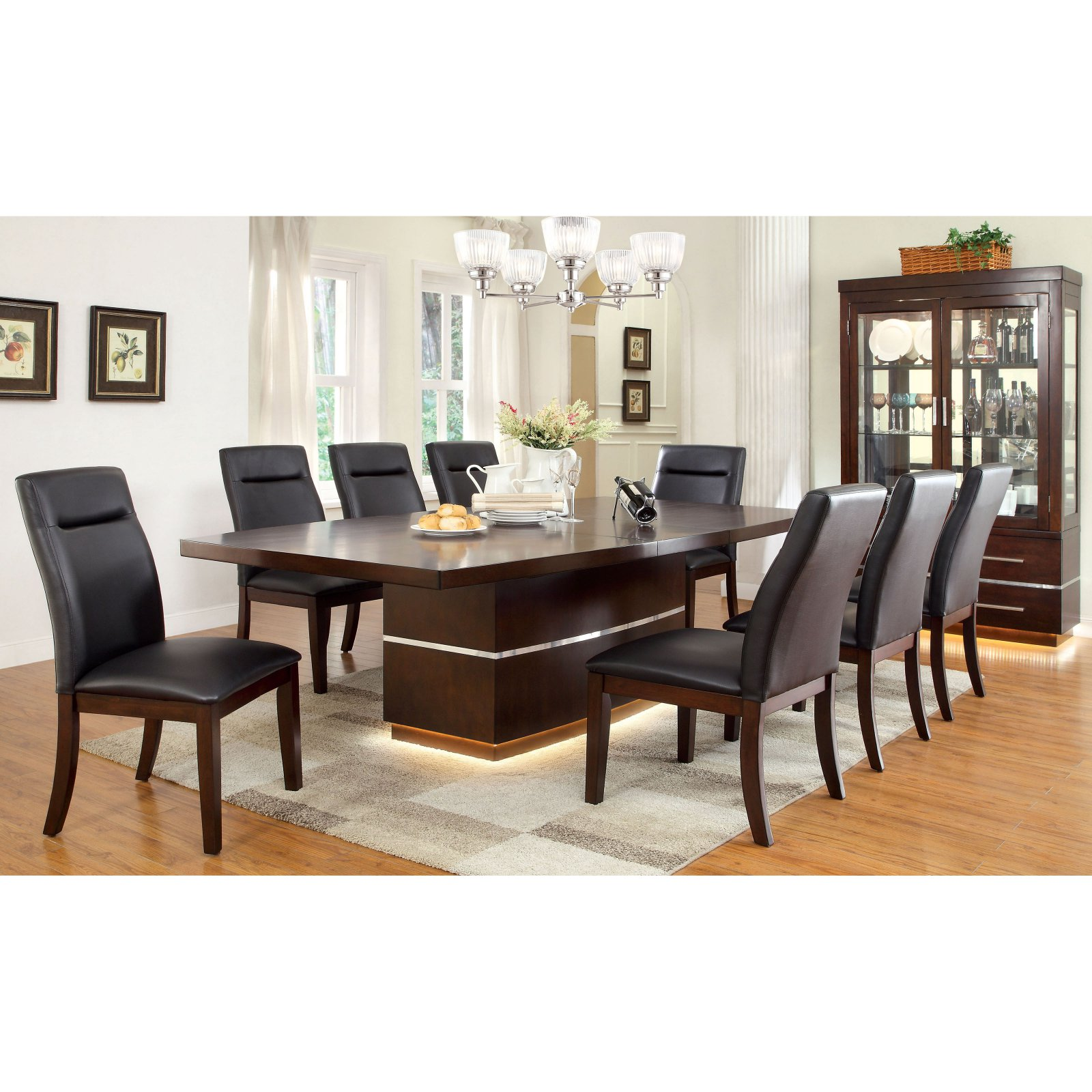 Furniture of America Langfield Modern Dining Table with Extension Leaf