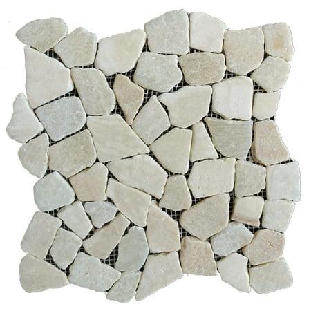 White Pebble Tile - Rainforest White Stone Mosaic Pebble Floor and Wall Tile 12