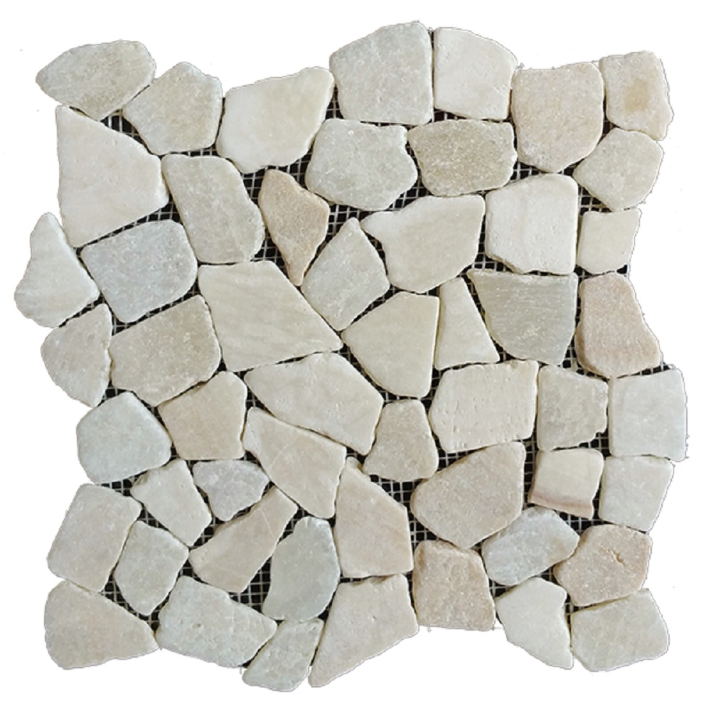 """Rainforest White Stone Mosaic Pebble Floor and Wall Tile 12"""" x 12"""" (5.0 sq. ft. / case)"""