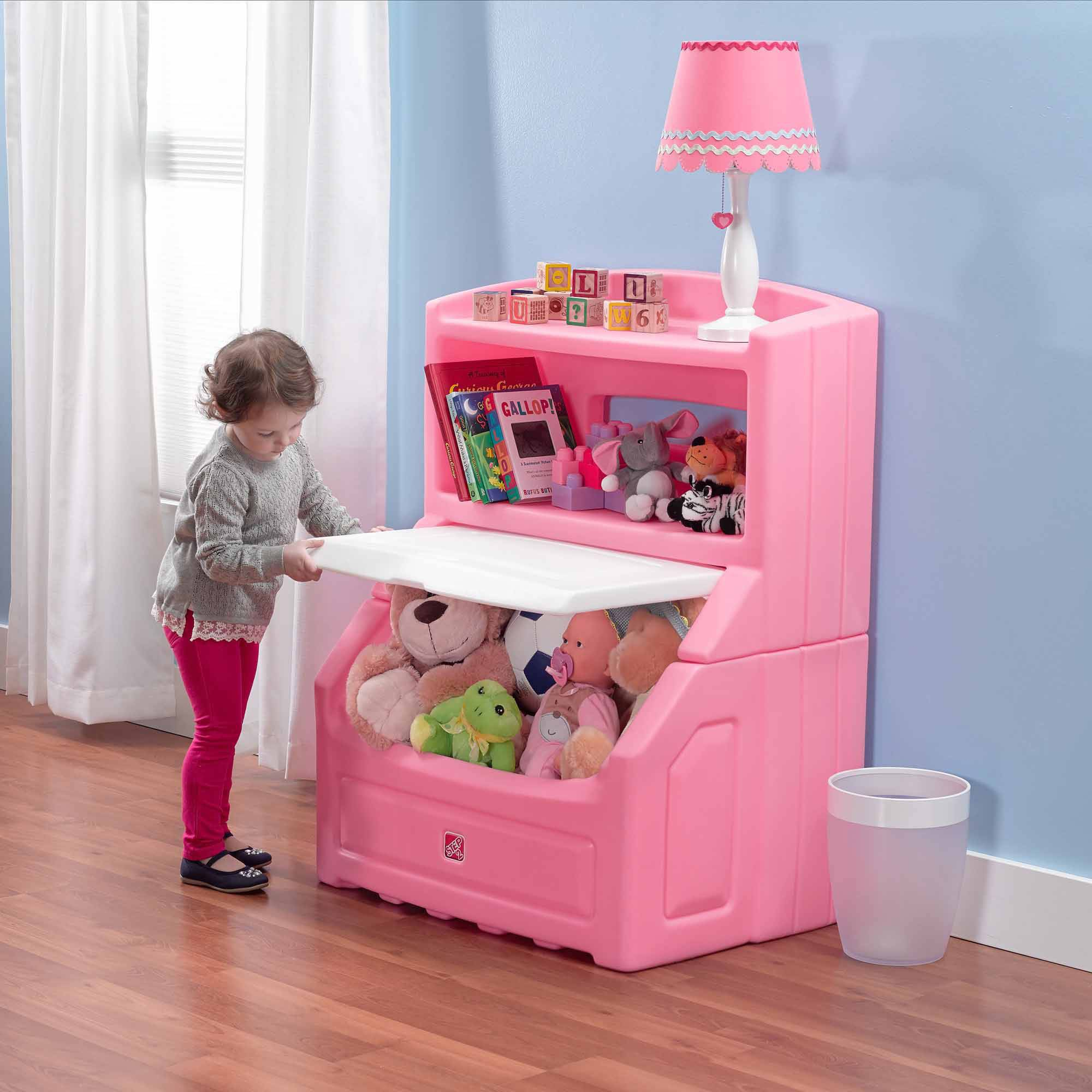 Merveilleux Toy Storage Box Chest Bin Large Organizer Kids Bedroom Playroom Bookcase  Pink