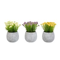 Pure Garden Faux Flowers-3-Piece Assorted Natural Lifelike Floral Arrangements and Imitation Greenery in Vases 6.25""