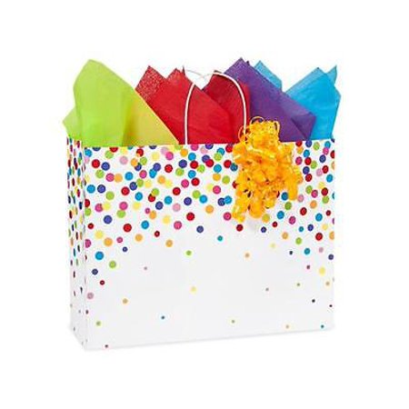 1 Unit Vogue Rainbow Confetti Shopping Bag Mini-Pk 16x6x12-1/2