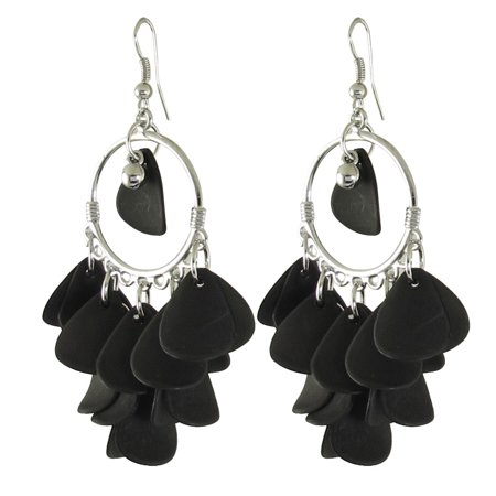 Pair Black Leaves Design Beads Pendant Hook Earrings Silver Tone for Ladies Beaded Silver Tone Earrings