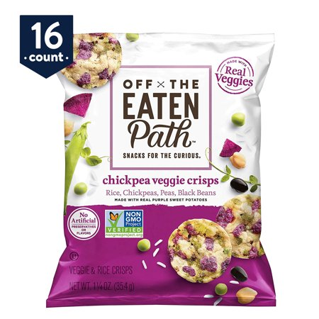 Off The Eaten Path Chickpea Veggie Crisps with Real Purple Sweet Potatoes,1.25 oz Bags, 16