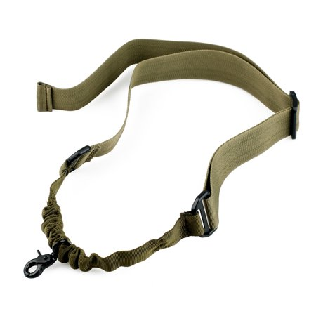 Army Support Gun (Tactical Hunting One Single Point Adjustable Bungee Rifle Gun Sling System Strap, Army Green )