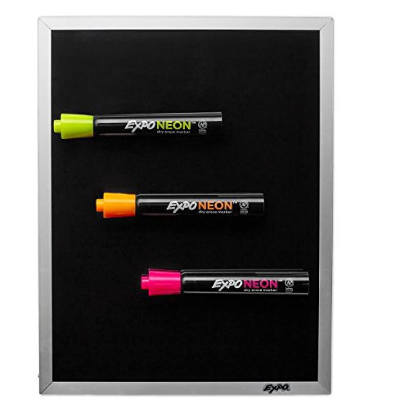 EXPO Low Odor Neon Dry Erase Markers & Black Dry Erase Board Set, 4-Piece Kit