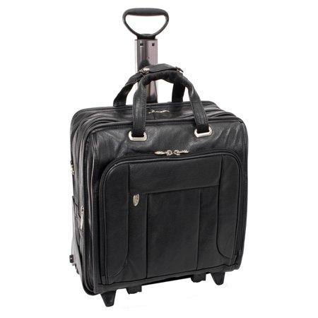 McKlein WEST TOWN, Checkpoint-Friendly Detachable Wheeled Laptop Briefcase, Pebble Grain Calfskin Leather, Black (15705) American West Leather Briefcase