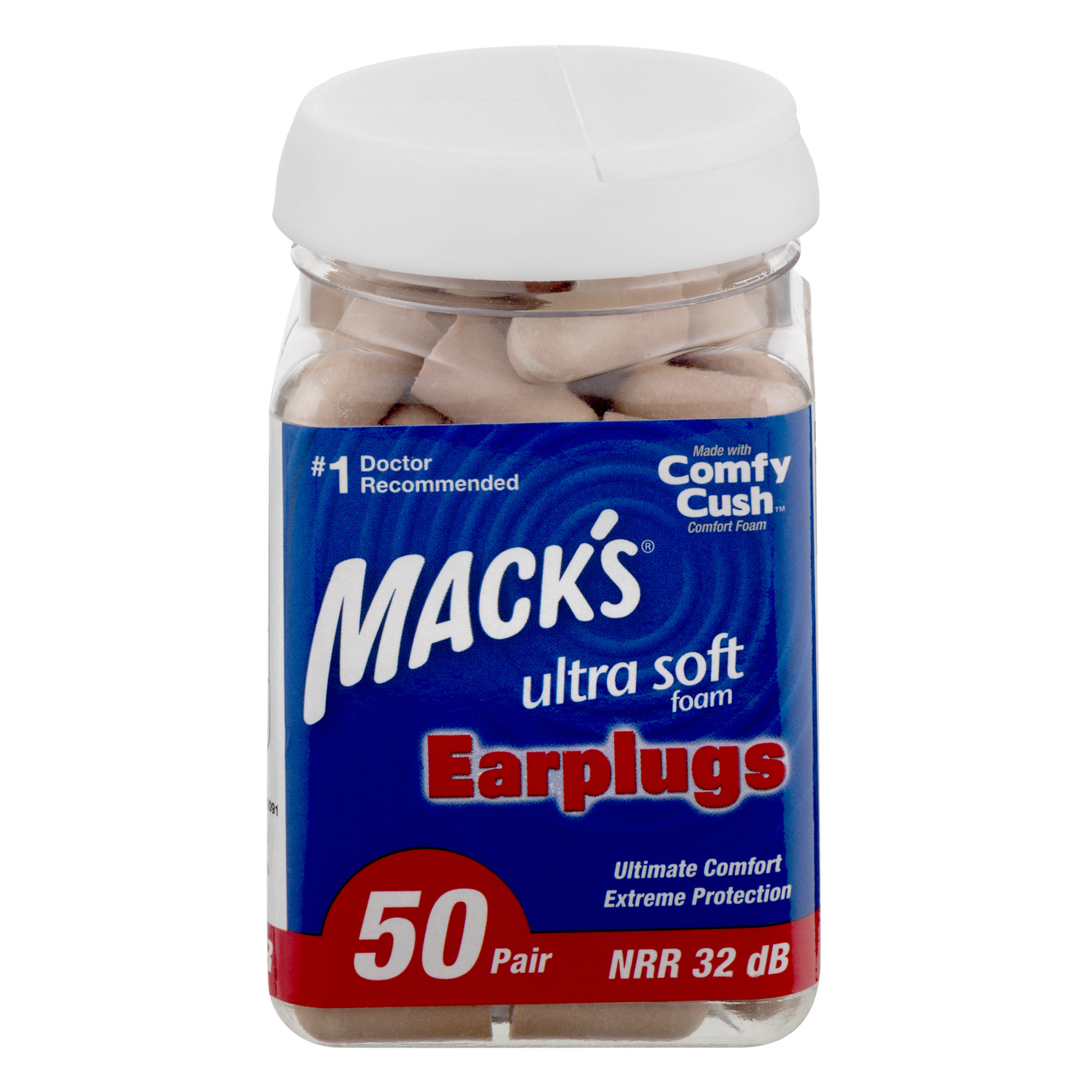 Mack's Safesound Ultra Soft Foam Earplugs, Tan, 50 pr
