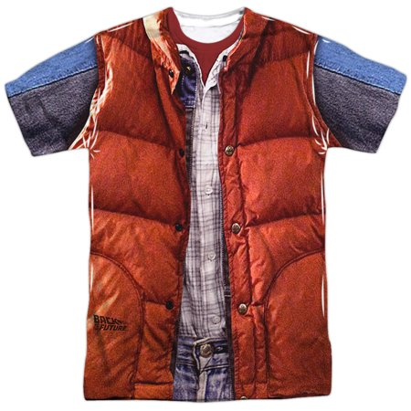 Marty McFly Vest Costume Adult Movie Front Print T-Shirt Tee](Marty Mcfly Outfit)