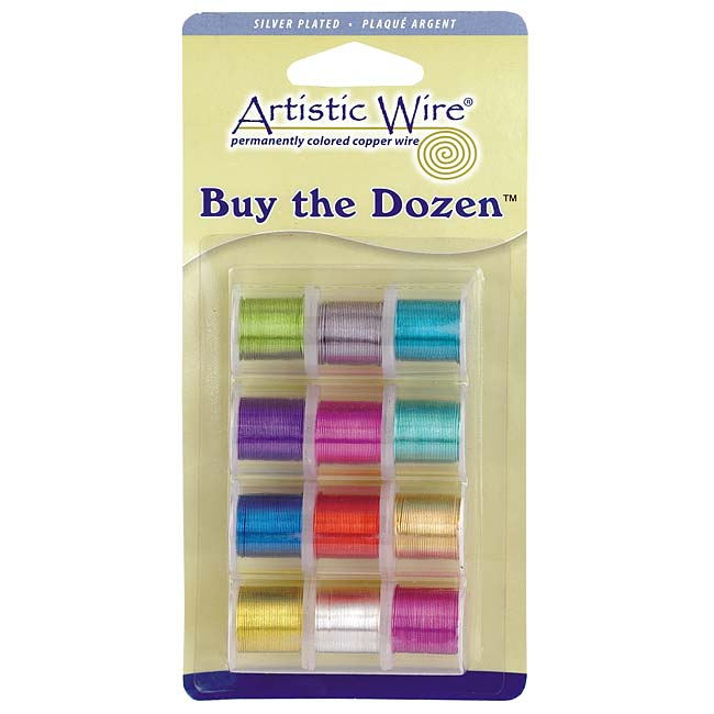 Artistic Wire, 12 Pack Craft Wire Assortment - Multi-Color Silver Plated 26 Gauge