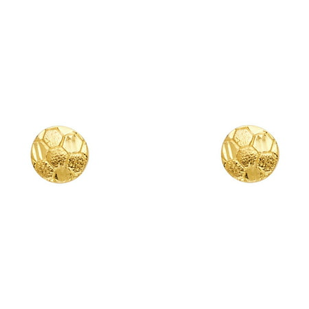Solid 14k Yellow Gold Soccer Ball Stud Earrings Round Sports Ball Post Studs Genuine Design 8 x 8 mm
