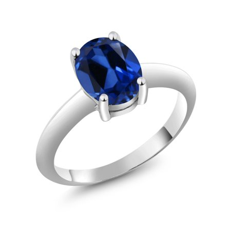 Mm Blue Star Sapphire - 2.15 Ct Oval Blue Simulated Sapphire 925 Sterling Silver Ring 9x7 mm