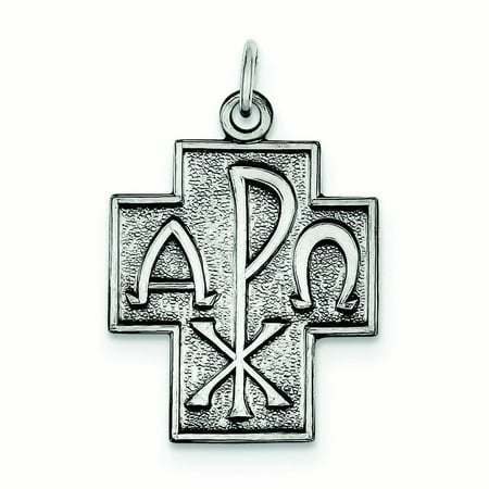 Sterling Silver Antiqued Alpha Omega Cross Pendant 37 Grams