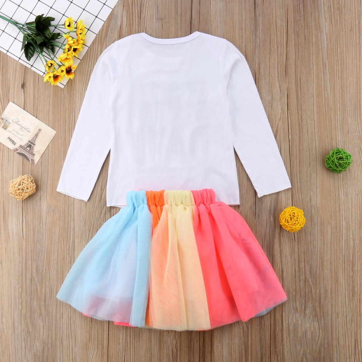 b9a6e1f1aa Gaono - Baby Kid Girls Birthday Outfits Long Sleve T-shirt+Rainbow Tutu  Skirt Set - Walmart.com