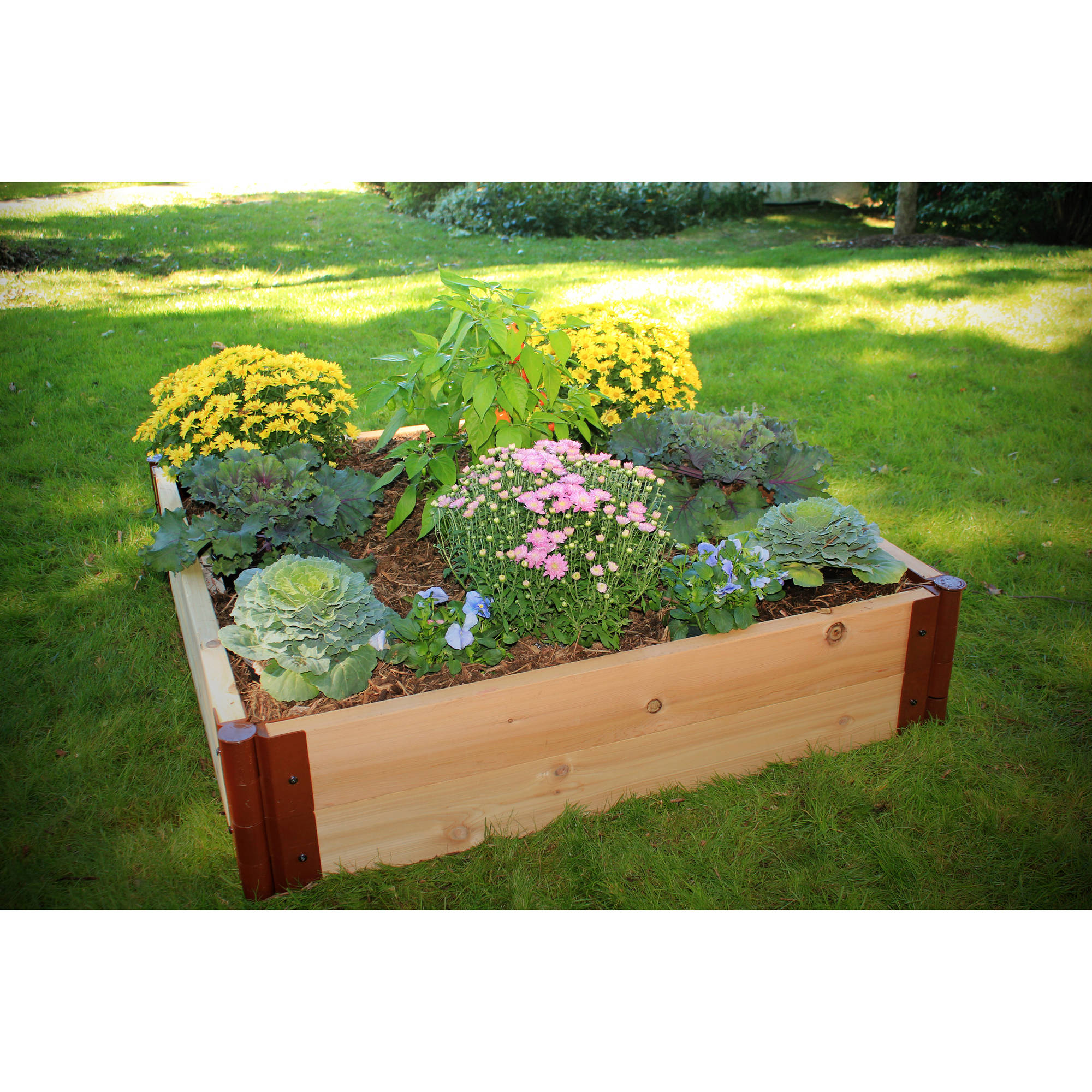Frame It All 2-inch Series Cedar Raised Garden Bed Kit - 4ft. x 4ft. x 12in.