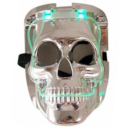 Printable Halloween Masks Color (LED Color Changing Silver Chrome Skull Face Halloween)