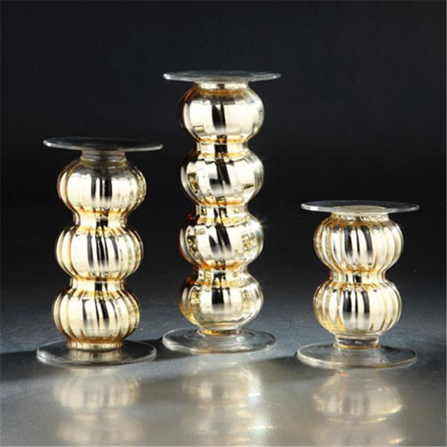 Diamond Star 51681 6 x 4.5 in. Glass Candle Holder, Gold