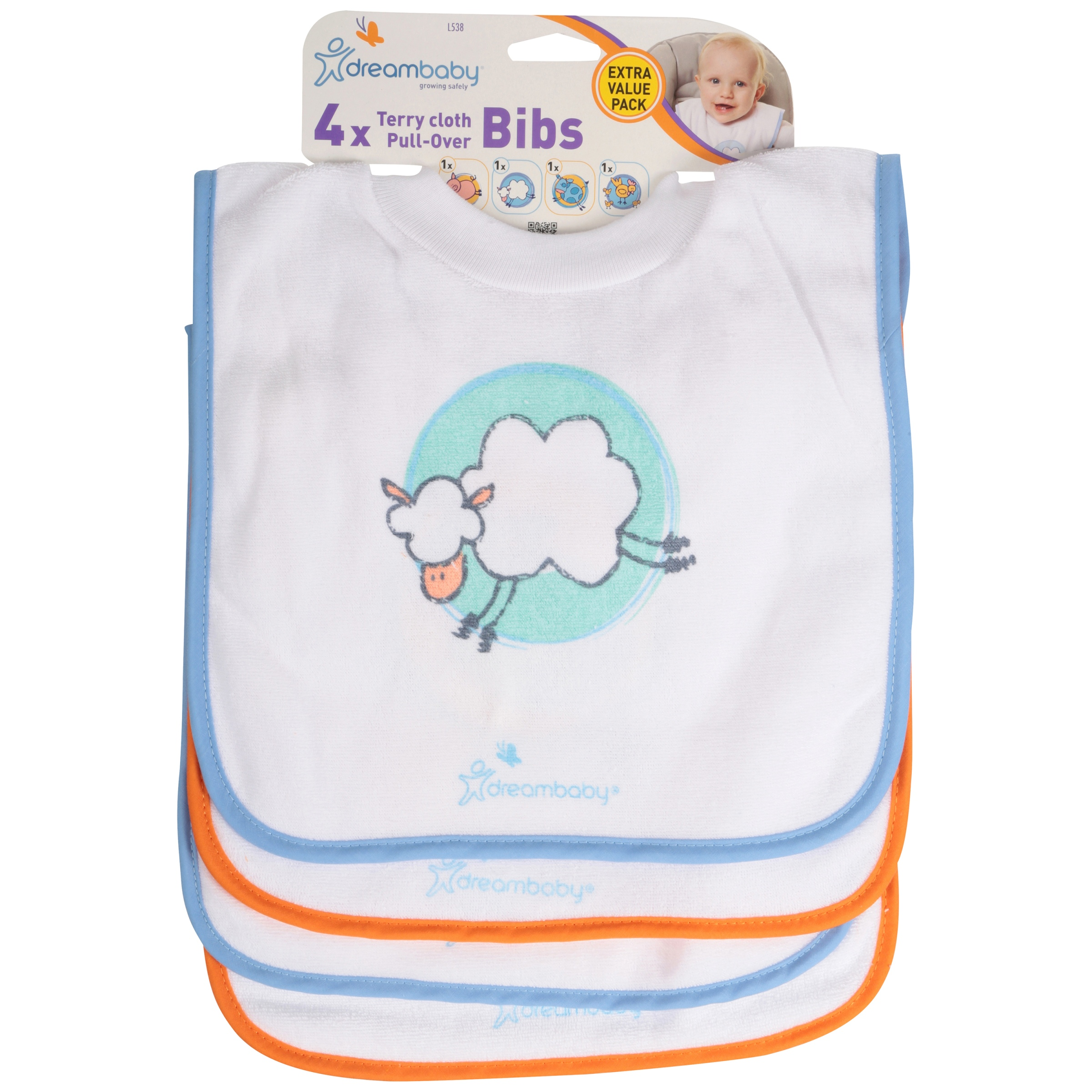 Farm Animals 4 Pack Dreambaby Terry Cloth Pullover Bibs