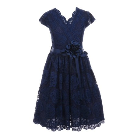 Girls Navy Flower Border Stretch Lace Stylish Special Occasion Dress 8 - Navy Dress For Girls