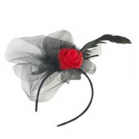 Black Laced Feather Headband With Red Rose