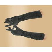 "Star Power Women Sexy Satin Long Gather Elbow Gloves, Black, One-Size 18"""