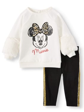 Disney Minnie Mouse Baby Girl Fur Sleeved Pullover Sweater and Leggings, 2pc Outfit Set