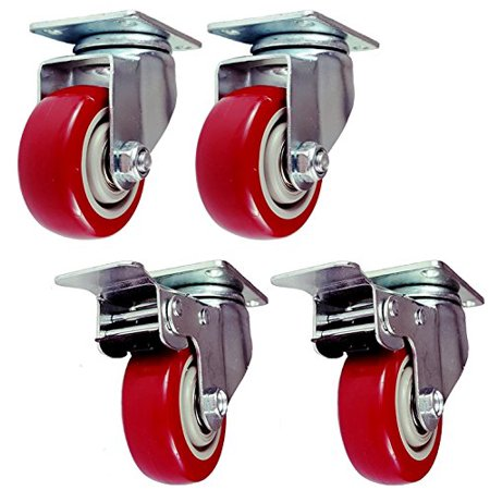 4 Pack 4 Inch Set Caster Wheels Swivel Plate 2 with Brake 2 Plate Heavy Duty on Red Polyurethane Wheels (Plate Caster Swivel)