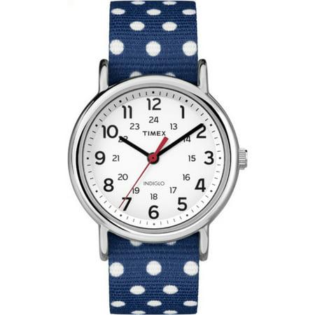Women's Weekender Watch, Blue and White Polka Dot Reversible Nylon Slip-Thru Strap
