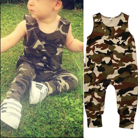 53655f821 Newborn Baby Boy Camouflage Romper Bodysuit Jumpsuit Outfits Summer Clothes