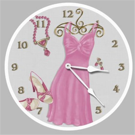 18 in. Night on the Town Pink Round Clock