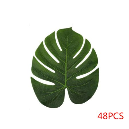 Electronicheart 12/24/48pcs Artificial Tropical Palm Monstera Leaves Simulation Leaf for Hawaiian Luau Beach Theme Party Jungle Decoration - image 1 of 6