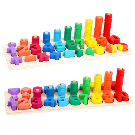 Kids Wood Sorting Puzzles Toys Shape Sorter Number and Math Stacking Blocks Toddlers Learning Toys Gift, Montessori Toys for Toddlers, Preschool Teaching, Early Education Toy - image 5 de 5