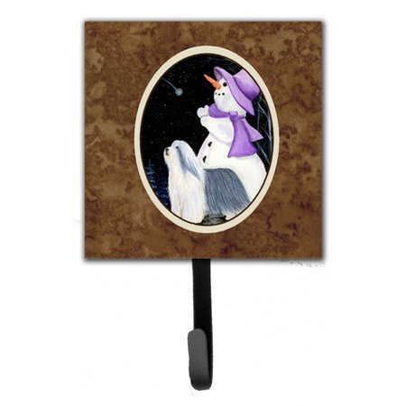 Caroline's Treasures Snowman with Bearded Collie Leash Holder and Wall Hook
