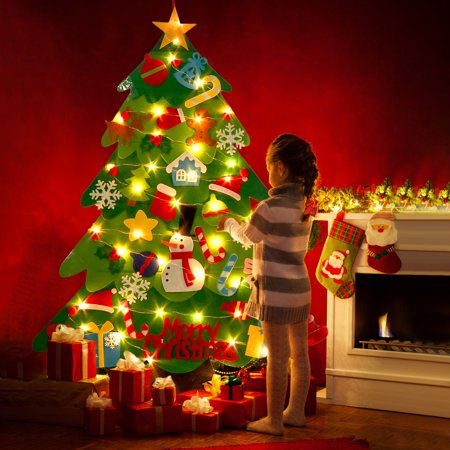 Felt Christmas Tree Set DIY Xmas Wall Decoration with Ornaments & String Light ()