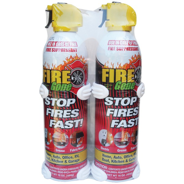 16 oz Fire Gone Suppressant with Bracket - Pack of 2