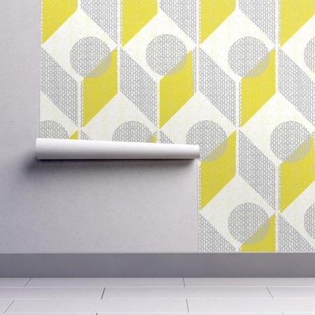 - Removable Water-Activated Wallpaper Gray And Yellow 60S Retro Mod Home Decor