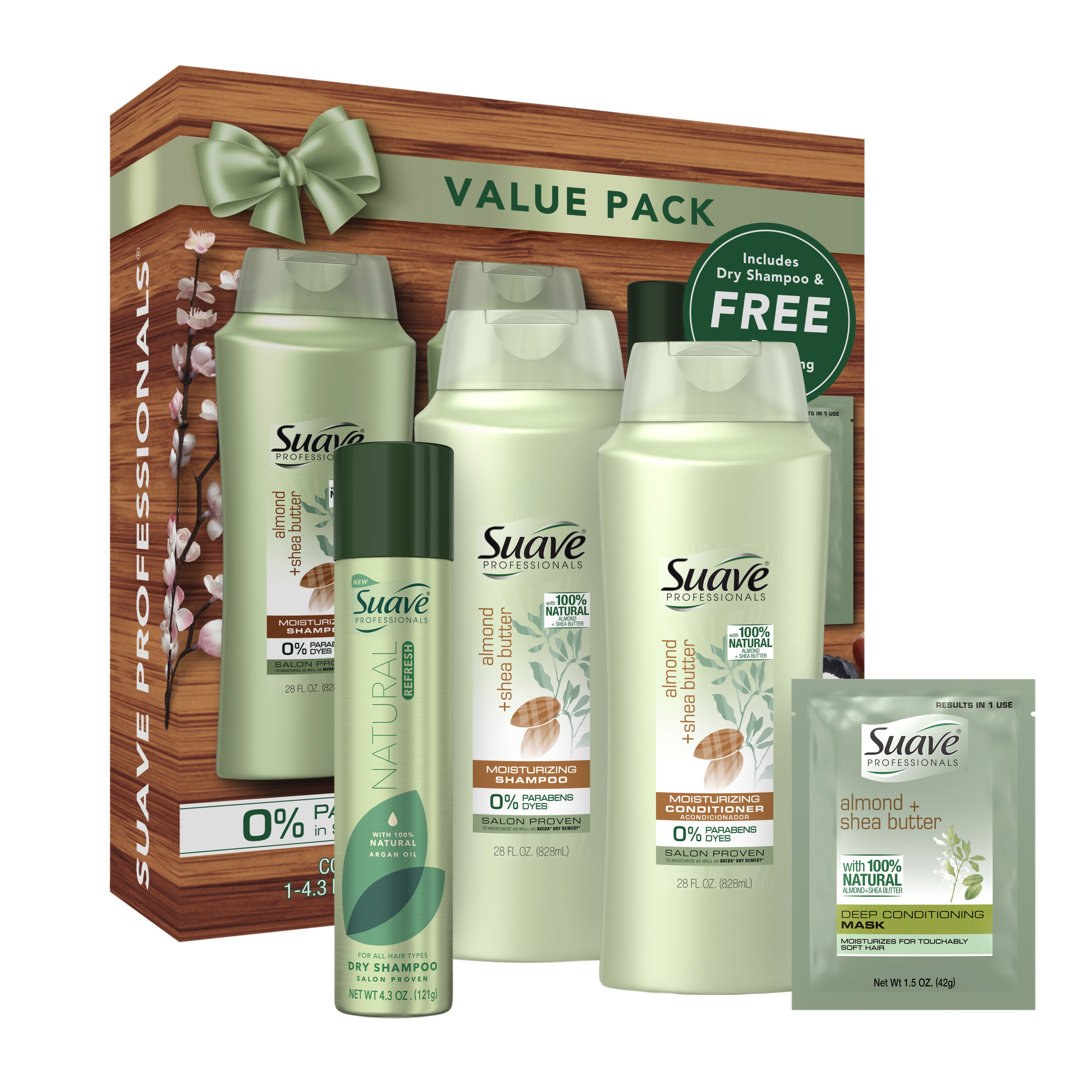 Suave 4-Pc Hair Gift Set Almond + Shea Butter (Shampoo, Conditioner, Hair Mask, Dry Shampoo) ($13.35 Value)