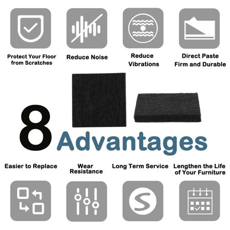 "Felt Pad Square 3/4"" Self Sticky for Floor Protector Desk Leg Black, 150pcs - image 2 de 7"