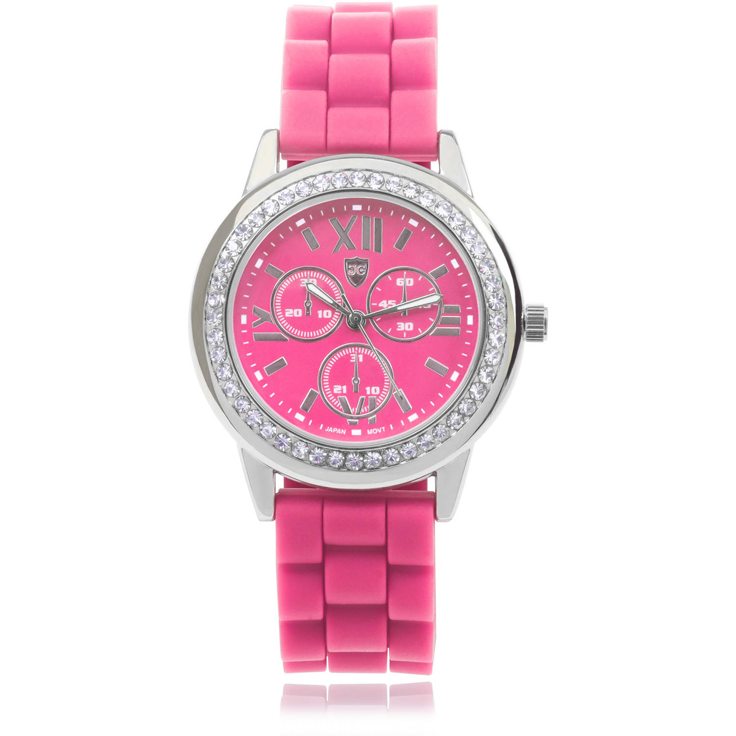 Journee Collection Women's Rhinestone Round Face Silicone Strap Fashion Watch, Pink