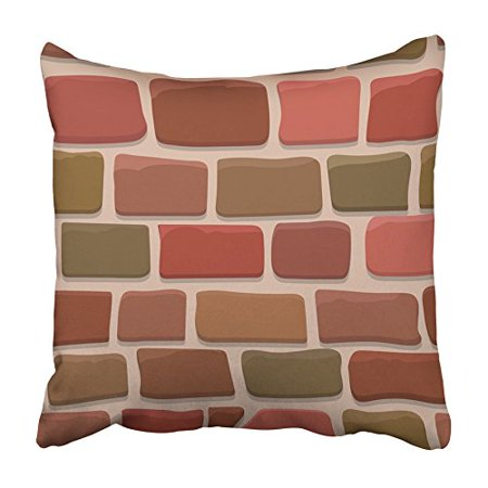 USART Brown Abstract of Cartoon Brick Wall Red Aged Architecture Block Brickwork Clay Pillowcase Cushion Cover 16x16 inch
